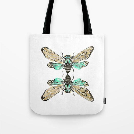 Summer Cicada – Mint & Tan Palette Tote Bag