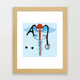 medical caduceus and stethoscope Framed Art Print