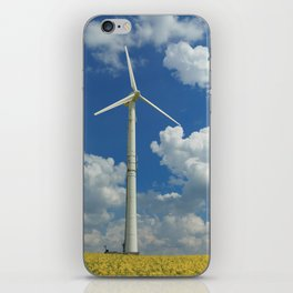 Wind Turbine Windmill in the Landscape with Yellow Colza Field and Blue Sky iPhone Skin