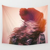 foxes Wall Tapestries featuring Foxes by Ellen Richardson