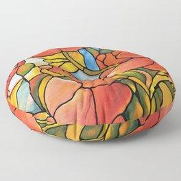 Red Poppy Lamp Floor Pillow