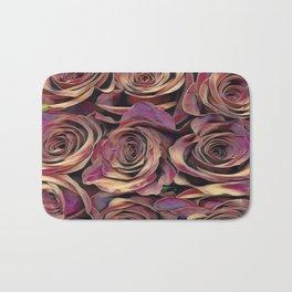 Golden Burgundy Rose Love Bath Mat