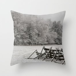 Meadow under snow Throw Pillow