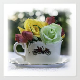 Tea Cup - Tea with Roses Art Print
