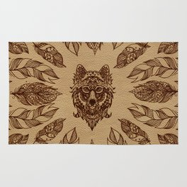 Tribal Wolf  and feathers leather embossed effect Rug