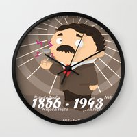 tesla Wall Clocks featuring Nikola Tesla by Alapapaju