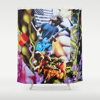 vegetable Shower Curtains featuring Vegetable Gremlin by John Turck