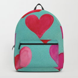 Romantic Watercolor Hearts - Pink -Turqouise Backpack