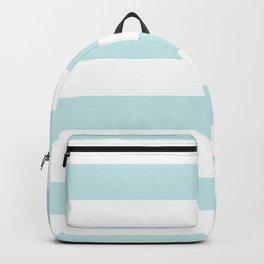 Duck Egg Pale Aqua Blue and White Wide Horizontal Cabana Tent Stripe Backpack