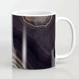 Dark Night Marble With Gold Glitter Waves Coffee Mug