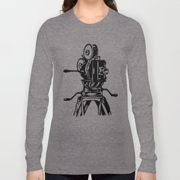 Vintage Motion Picture Film Camera Graphic Long Sleeve T-shirt