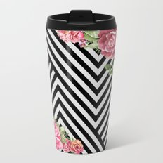 flowers geometric Metal Travel Mug