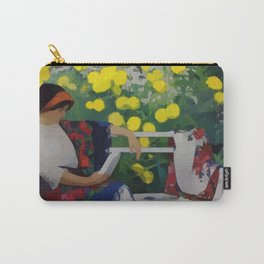 Woman in Garden Reading Abstract Modern Art Carry-All Pouch