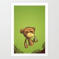 Unimpressed monkey Art Print