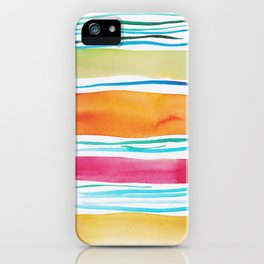 15   |181026 Lines & Color Block | Watercolor Abstract | Modern Watercolor Art iPhone Case