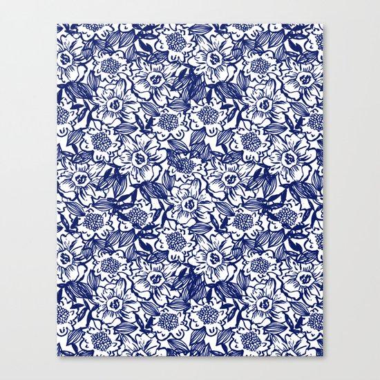 Indigo Florals watercolor painterly botanical boho pattern print nature spring summer monochromatic Canvas Print