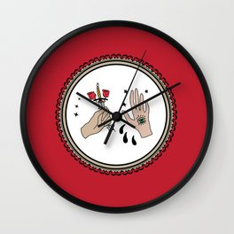 Evil Eye & Sword Hands in Frame Wall Clock