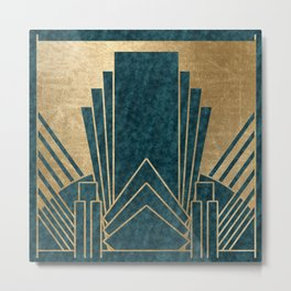 Art Deco glamour - teal and gold Metal Print