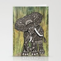 ornate elephant Stationery Cards featuring Ornate Elephant by ArtLovePassion