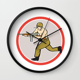World War Two Soldier American Tommy Gun Wall Clock