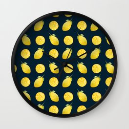 Watercolor Lemon Pattern Wall Clock