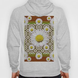 Modern Coffee Brown Deco Style Shasta Daisies Art Hoody