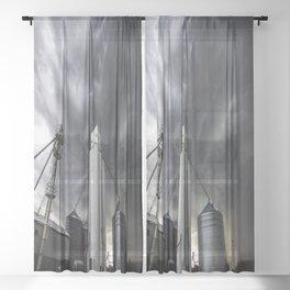 Skyscraper - Storm Over Grain Elevator in Kansas Town Sheer Curtain