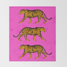 Tigers (Magenta and Marigold) Throw Blanket