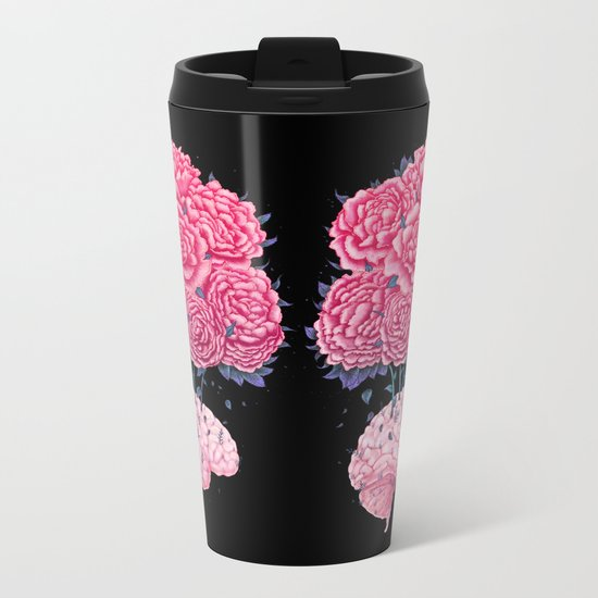 Brain with peonies on black Metal Travel Mug