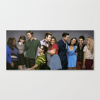 glee Canvas Prints featuring Glee by weepingwillow