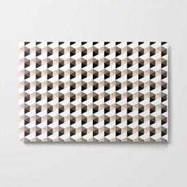 Pantone Hazelnut Hexagon, Cube Pattern Optical Illusion Metal Print