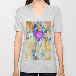 Heart Cross watercolor by CheyAnne Sexton Unisex V-Neck