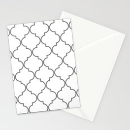 Quatrefoil - Gray and White Stationery Cards