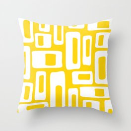 Retro Mid Century Modern Abstract Pattern 335 Yellow Throw Pillow