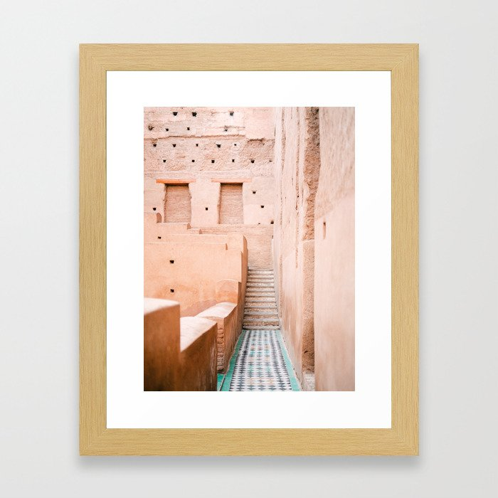 Colors of Marrakech Morocco - El badi palace photo print   Pastel travel photography art Framed Art Print