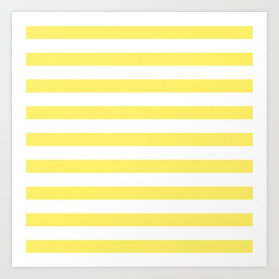 Lemon Yellow Stripes Art Print