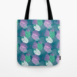 Firework textured floral on a blue/green base Tote Bag