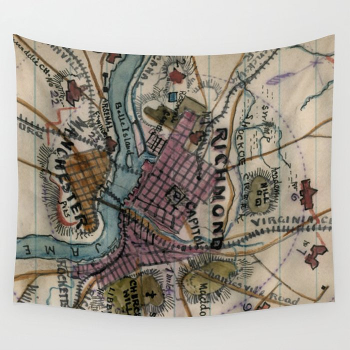 Vintage Richmond Virginia Civil War Map 1865 Wall Tapestry By
