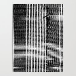 Stitched Plaid in Black and White Poster