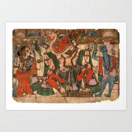 Hindu Krishna Ganesh Tapestry Kunstdrucke