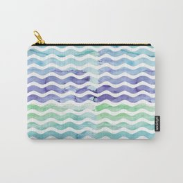 Modern teal blue watercolor hand painted waves Carry-All Pouch