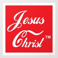christ Art Prints featuring JESUS CHRIST by The Fugu Project
