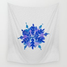 WATERCOLOR SNOWFLAKE 4 - blue and purple palette Wall Tapestry