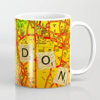 london map Mugs featuring London Map by Ganech joe