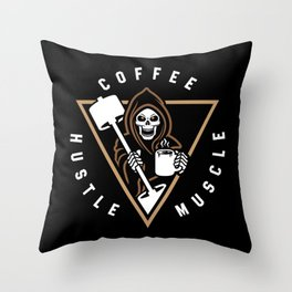 Coffee Hustle Muscle Grim Reaper Throw Pillow