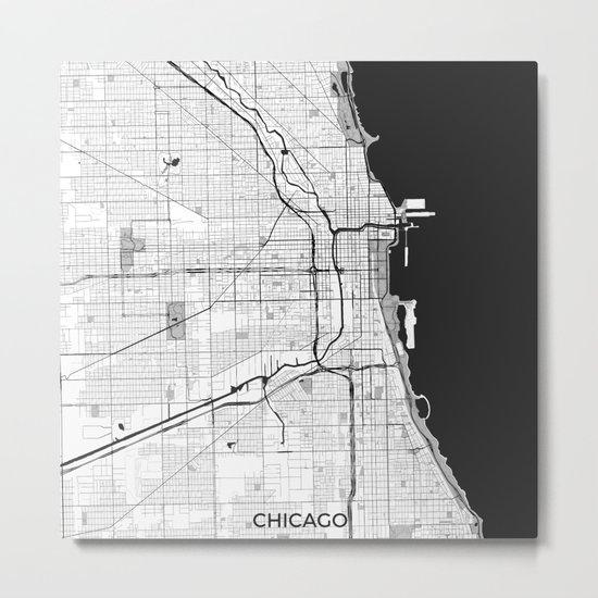 Chicago Map Gray Metal Print
