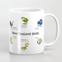 new zealand Mugs featuring New Zealand Birds by mailboxdisco