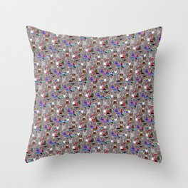 Small Print Dog Weim Nation Grey Ghost Weimaraner Hand-painted Pet Pattern on Pink Throw Pillow