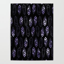 Purple Feathers and Gems on Black Pattern Poster