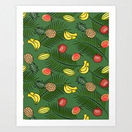 Tropical fruits pattern Art Print